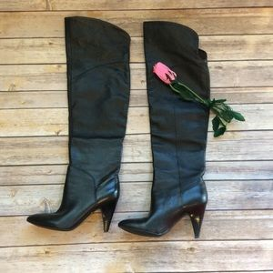 Guess over the knee black heel boots slim fit 6M